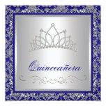 Azules marinos reales Quinceanera de la tiara del Comunicados Personalizados