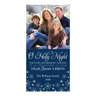 Azules marinos religiosos del navidad de la noche tarjeta con foto personalizada