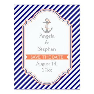 """Azules marinos, reserva náutica coralina del boda invitación 4.25"""" x 5.5"""""""