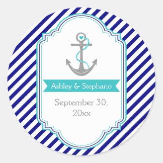Azules marinos, reserva náutica del boda de la pegatina redonda