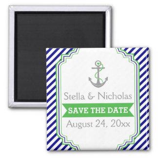 Azules marinos, reserva náutica del boda del verde imán cuadrado