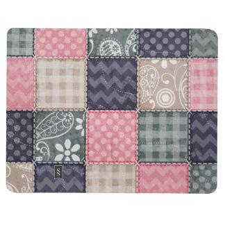 Azules marinos, rosa, moreno, y mirada linda gris  cuaderno grapado