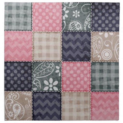 Azules marinos, rosa, moreno, y mirada linda gris  servilletas imprimidas