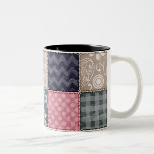 Azules marinos, rosa, moreno, y mirada linda gris  taza dos tonos