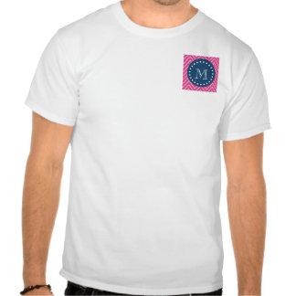 Azules marinos rosas fuertes Chevron el su mono Camiseta