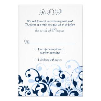 Azules marinos RSVP floral abstracto blanco azul c Comunicado