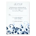 Azules marinos RSVP floral abstracto blanco azul Invitación 8,9 X 12,7 Cm