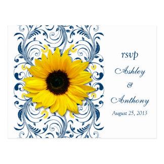 Azules marinos RSVP que se casa floral blanco del Postal