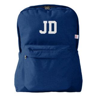 Azules marinos rubricados monograma de encargo de mochila