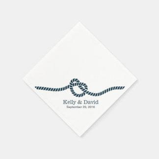 Azules marinos simples que atan el boda del nudo servilleta desechable