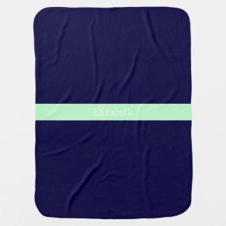 Azules marinos sólidos, monograma del nombre de la manta de bebé