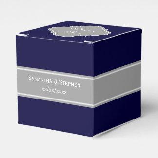 Azules marinos sólidos, monograma gris oscuro del caja para regalos de fiestas