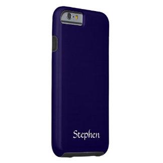 Azules marinos sólidos personalizados funda resistente iPhone 6