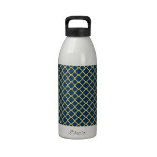 Azules marinos y amarillo Quatrefoil Botellas De Beber