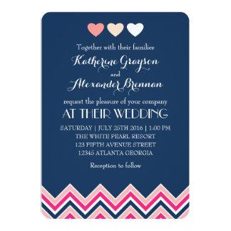 Azules marinos y amor rosado de la invitación del