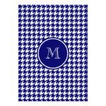 Azules marinos y blanco Houndstooth su monograma Invitaciones Personalizada