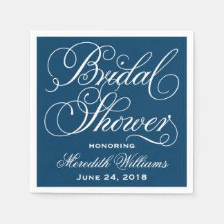 Azules marinos y blanco nupciales de las servilleta desechable