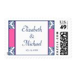 Azules marinos y boda rosado sello