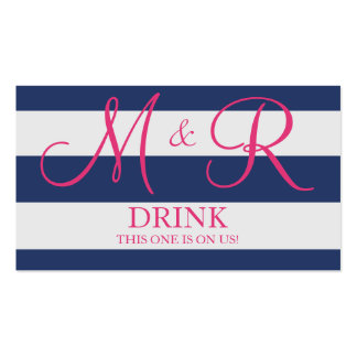 Azules marinos y boleto rosado de la bebida del bo plantillas de tarjetas de visita