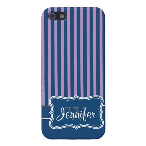 Azules marinos y caja con monograma de moda púrpur iPhone 5 carcasa