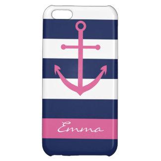 Azules marinos y caso rosado del monograma del anc