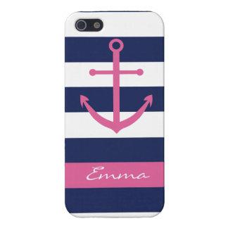 Azules marinos y caso rosado del monograma del anc iPhone 5 cobertura