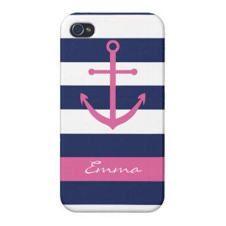 Azules marinos y caso rosado del monograma del anc iPhone 4 fundas