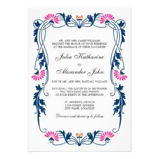 Azules marinos y el casarse floral fucsia de los comunicados personales