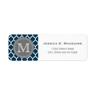 Azules marinos y gris cones monograma etiqueta de remite