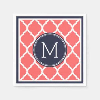 Azules marinos y monograma coralino del boda de servilletas desechables