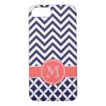 Azules marinos y monograma coralino del funda iPhone 7