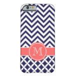 Azules marinos y monograma coralino del funda para iPhone 6 barely there