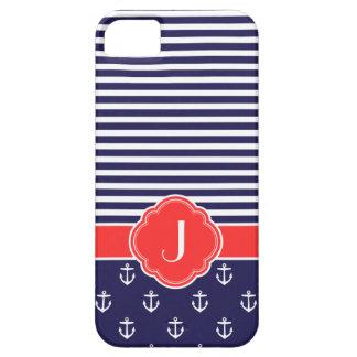 Azules marinos y monograma de encargo náutico de m iPhone 5 Case-Mate protectores