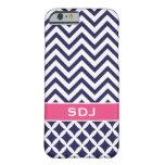 Azules marinos y monograma rosado del funda de iPhone 6 barely there