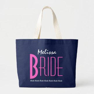 Azules marinos y novia personalizada rosa bolsa tela grande