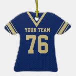 Azules marinos y oro del jersey del fútbol con la  ornamento para reyes magos