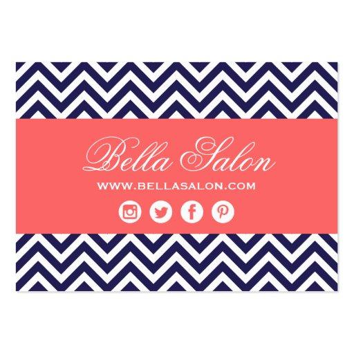 Azules marinos y rayas modernas coralinas de plantilla de tarjeta personal
