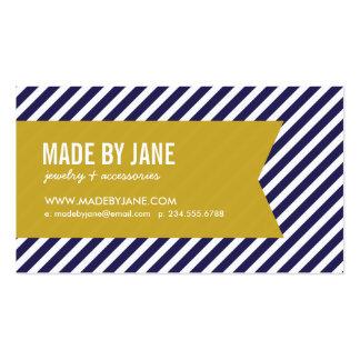 Azules marinos y rayas y cinta modernas del oro tarjetas de visita