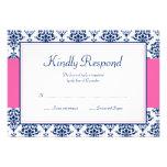 Azules marinos y tarjeta rosada de la respuesta de comunicados personales
