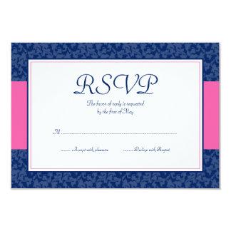 """Azules marinos y tarjeta rosada de la respuesta invitación 3.5"""" x 5"""""""