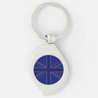 Azules para que una bandera británica de Union Llavero Plateado En Forma De Espiral
