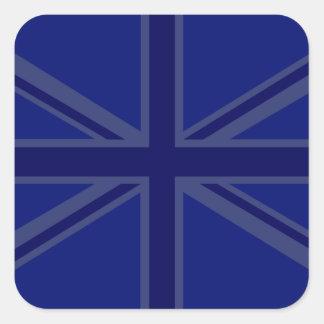 Azules para una bandera de Union Jack Británicos Pegatina Cuadrada