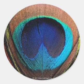 Azules ricos de la pluma macra del pavo real pegatina redonda