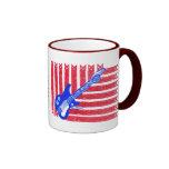 Azules rojos, blancos y célticos taza de café