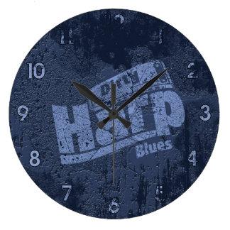 Azules sucios de la arpa reloj redondo grande