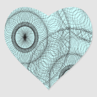 Azules turquesas complejas del negro del modelo de calcomanías corazones