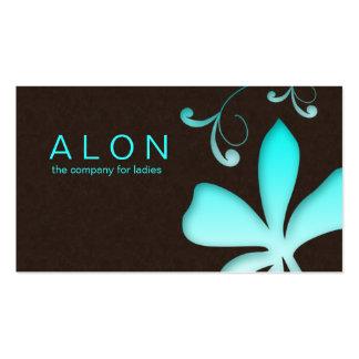 Azules turquesas de la flor de la tarjeta de visit