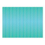Azules turquesas de la raspa de arenque postal