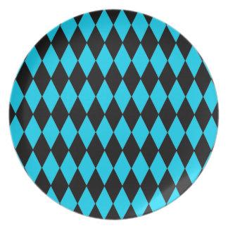 Azules turquesas del trullo y modelo del diamante  plato para fiesta