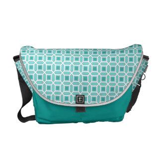 Azules turquesas geométricas del modelo del bolsa de mensajería